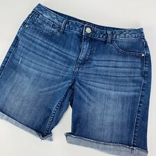 ELLE Womens Size 8 Denim Stretch Distressed Long Bermuda Walking Shorts