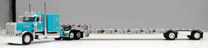 DCP 1/64 SCALE 389 PETERBILT FLAT, TURQUOISE WITH TRANSCRAFT STEPDECK TRAILER
