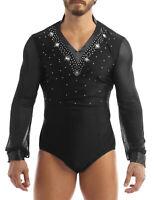 Men Stand Colla Long Sleeves T-shirt Latin Ballroom Dance Leotard Mesh Bodysuit