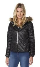 Vero Moda Hooded Short Jacket Quilted Faux Fur Black Size S (8) RRP £55