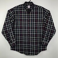 Brooks Brothers Non Iron Button Down Shirt Men's Size Large Navy Blue Plaid