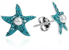 Blue Cubic Zirconia Stud Earrings Sterling Silver Starfish Faux Pearl Centered