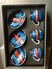 917 Porsche Martini Espresso Set Historical Race, 3 Cups & Saucers RARE! Awesome