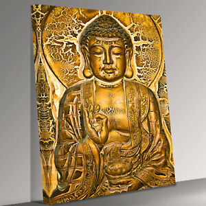 Buddha sitting on lotus and blessing Canvas Wall Art Picture Print
