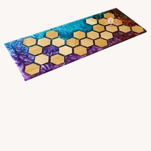 Blue Purple Resin River Epoxy Acacia Dining Center Table Honey Cube Art Interior