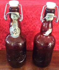 "2 Vintage_GROLSCH Lager Beer Brown Bottles_Porcelain Wire Bail Flip Swing Top_9"""