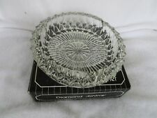 Vtg New~Diamond Ashtray Cendrier Cut Glass~ MADE IN ITALY~ European Collection