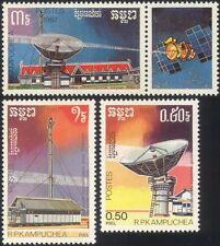 Kampuchéa 1987 espacio/Radio Satelital/Antena Parabólica/de telecomunicaciones 3v Set b7989