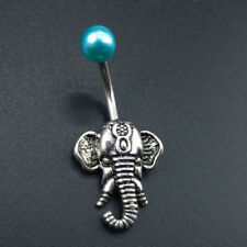 Festival Elephant Belly Navel Button Ring Gem Indian Body Piercing Jewelry