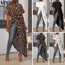 Women Printed Leopard Party High Low Shirt Asymmetric Hem Split Long Top Blouse