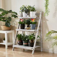 3Tier Plant Stand Shelf Pot Rack Patio Wood Indoor Flower Pot Ladder Brown/White