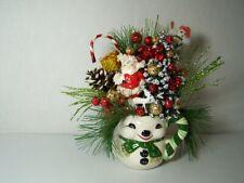 New Listing Christmas Snowman Mug Centerpiece, Tree,Vintage Santa