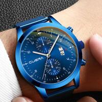 CUENA Men's Business Watch Steel Mesh Belt Watch Two Eyes Calendar Quartz Watch