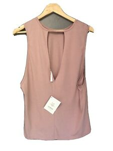 NWT Fabletics Pink Athletic Sleeveless Top Nicola Tank Med Sexy Low Back Relaxed