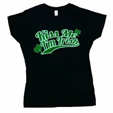 Kiss Me I'm Irish Logo Women's T-shirt Black Official Licensed Small