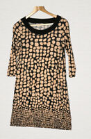 Laura Ashley Jersey Tunic Dress Brown Abstract Print Size 12 Smart Work Office