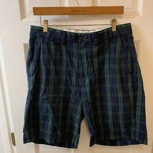 Polo Ralph Lauren Men 32 Blue Flat Front Shorts Blue Green Plaid PRL RL Vintage