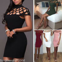 Summer Fashion Women Choker High Neck Bodycon Ladies Caged Sleeves Mini Dress SH