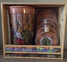 New listing Sommelier Terra Cotta Wine Chiller W Coaster Bottle Topper &6 Absorbing Coasters