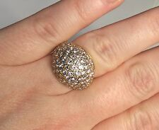 Estate 14K Yellow Gold 3.50 CTW F-G VS1 Diamond Cluster Dome Ring 7 Gr. Size 6.5