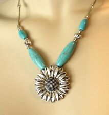"""Silver Beaded Sunflower Necklace Lobster Claw Fastener  2"""" Extender"""