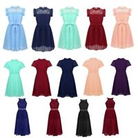 Flower Girls Dress A-line Chiffon Dresses Party Summer Casual Kids Birthday Gown