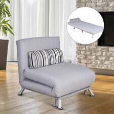 Homcom Single Sofa Bed Convertible Folding Recliner Chair With Pillow Grey