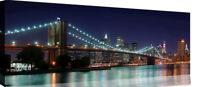 New York Brooklyn Bridge Landscape Panoramic Canvas Wall Art Picture Print