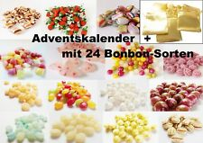 Adventskalender gefüllt Premium Bonbons 24 Sorten je 25g mit goldenen Säckchen