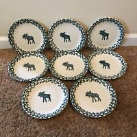 Set Of 8 FOLK CRAFT Moose Country by Tienshan 7 3/4 Inch Salad Plates