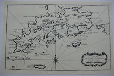Carte Atlas ancienne XVIIIème Ile Saint-Thomas Reproduction petit tirage 1973