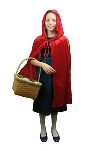 Girls Little Red Riding Hood Fancy Dress Cape Childrens Book Week Outfit Velvet