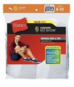 Hanes Cushion No-Show Men's Socks 6-Pack cotton-blend Extra-thick Reinforced Toe
