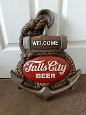 Vintage Falls City Beer Advertising Store Display Sign 3D Anchor Nautical