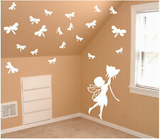 Cute Fairy + 20 Dragonflies Wall Decal - Deco Art Sticker Mural