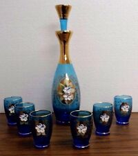 "VINTAGE BLUE GLASS BOHEMIAN DECANTER SET 11"" BOTTLE STOPPER SIX 2.75"" GLASSES"