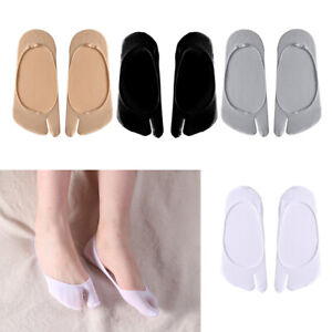 4 Pairs Womens Split Tabi Two Toe No Show Socks Kimono Geta Casual Toe Socks