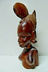 VINTAGE HAND CARVED AFRICAN TIMBER STATUE BUST FIGURINE
