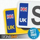 UK CAR NUMBER PLATE STICKER UNION JACK FLAG - Vinyl Car Stickers - PAIR