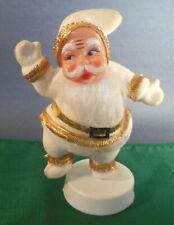 "White Vintage Dancing & Waving Santa Claus Flocked Felt Christmas Decoration 6"""