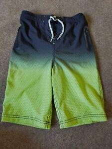 NEXT Boys Black/Green Longer length Swimming Shorts Age 8 Years VGC
