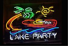"""New Lake Party Boat Palm Tree Beach Party Bar Neon Light Sign 24""""x20"""""""