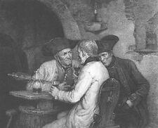 OLD MEN WORLDY CONNOSSIEURS LAUGH, DRINK WINE IN CELLAR ~ 1880 Art Print ETCHING