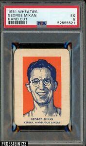 1951 Wheaties Basketball Hand Cut George Mikan Lakers HOF PSA 5 EX