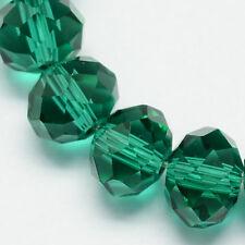 100 un. Rondelle Facetado Vidrio Cuentas De Cristal 6mm Esmeralda