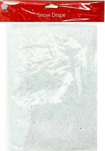 2x Snow Blankets, Snow Drapes with Silver Glitter, 91 x 114 cm