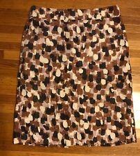 J Crew Pencil Skirt Size 6 Cotton Silk Watercolor Lavender Brown Ivory~Beautiful