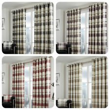 100% Cotton Country Balmoral Check Slate Grey Lined Eyelet Curtains OR Cushions