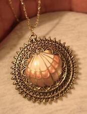 Lacy Goldtne Starburst Flower Petal Cloisonne Seashell Rhinestone Medal Necklace