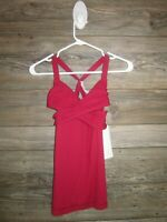 NWT Lululemon Wrap It Up Tank Size 4 Cranberry RED Luxtreme Fabric Coolmax Liner